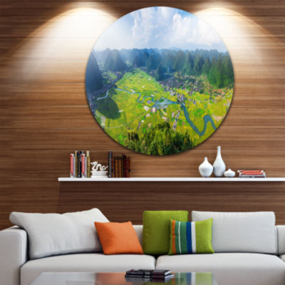 Design Art Rice Field Valley Vietnam Panorama Landscape Metal Circle Wall Art