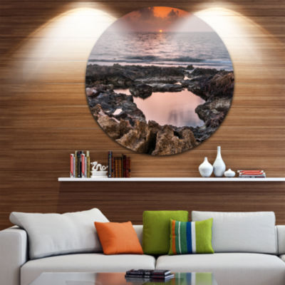 Design Art Rocky African Coastline Sunset Oversized Beach Metal Circle Wall Art