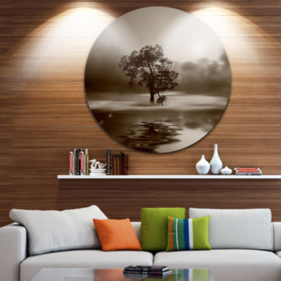 Design Art Alone Tree on Island in Sepia Extra Large Wall Art Landscape