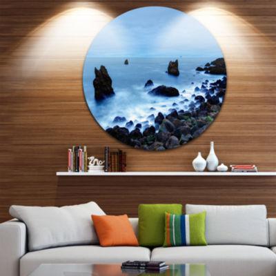 Design Art Rocky Coast near Raykjanes Extra LargeSeashore Metal Circle Wall Art