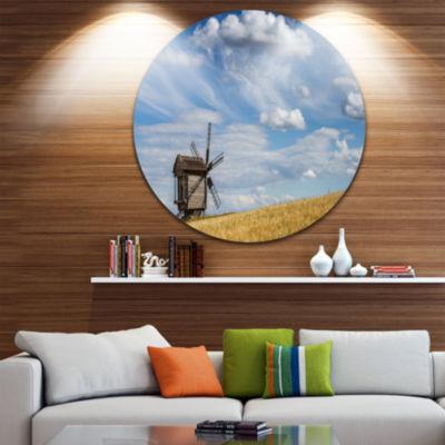 Design Art Cloudy Sky and Windmill Summer day Landscape Metal Circle Wall Art