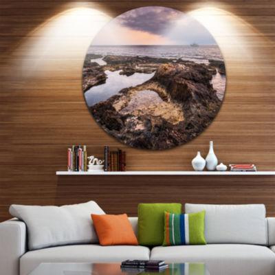 Design Art Rough Rocky Coastline Africa OversizedBeach Metal Circle Wall Art