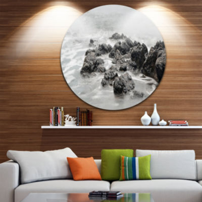 Design Art Black and White Rocky Coastline Extra Large Seashore Metal Circle Wall Art