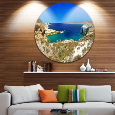Design Art Milos Island Bay Panorama Extra Large Seashore Metal Circle Wall Art