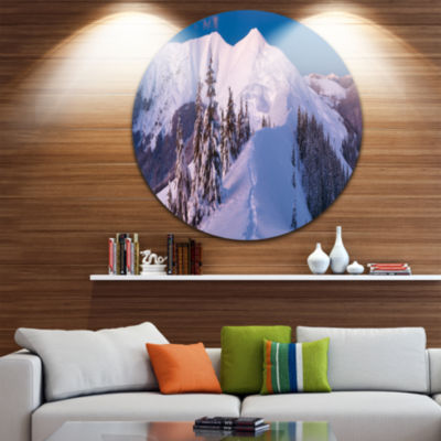 Design Art Frosty Winter Carpathians View Landscape Metal Circle Wall Art
