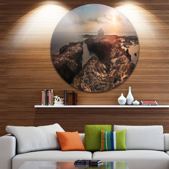Design Art Rocky African Coast Panorama OversizedBeach Metal Circle Wall Art