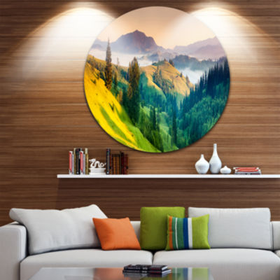 Design Art Brightly Green and Blue Mountains Landscape Metal Circle Wall Art