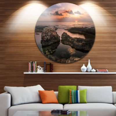 Design Art Rough Coast with Ancient Ruins Oversized Beach Metal Circle Wall Art