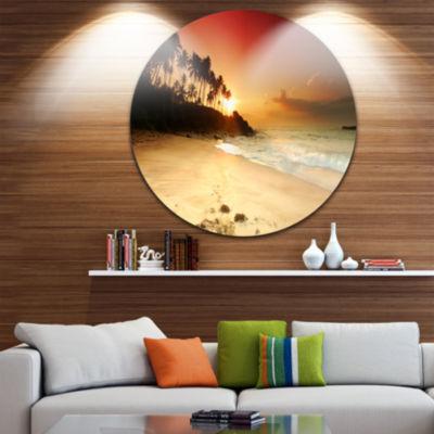 Design Art Amazing Sunset and Beach in Sri Lanka Modern Seashore Circle Metal Wall Art