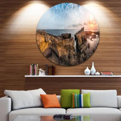 Design Art Bright African Seashore Panorama Oversized Beach Metal Circle Wall Art