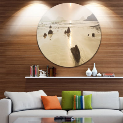 Design Art Sunrise over Rocky Sea Panorama Seashore Metal Circle Wall Art