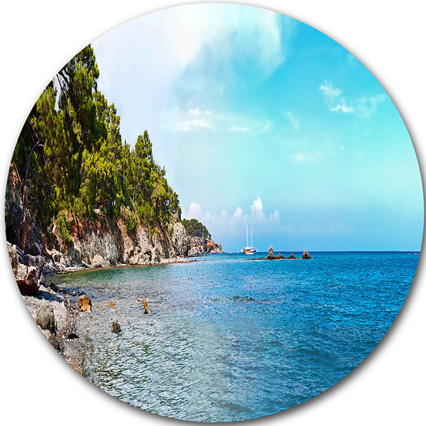 Design Art Wild Blue Beach Panorama View Extra Large Seashore Metal Circle Wall Art
