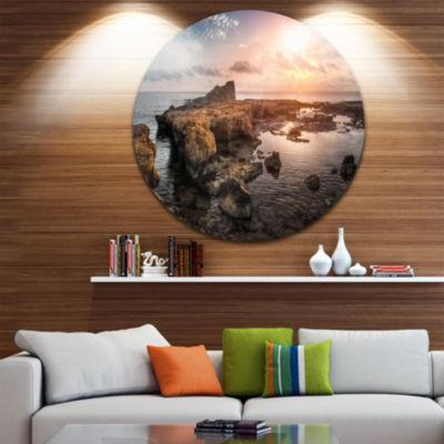 Design Art Sunset over Rocky African Coast Oversized Beach Metal Circle Wall Art