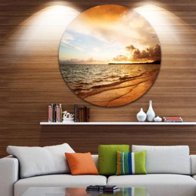 Design Art Amazing Sunrise at Atlantic Ocean Seashore Metal Circle Wall Art