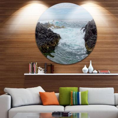 Design Art Splashing Waters to Mossy Rock Extra Large Seashore Metal Circle Wall Art