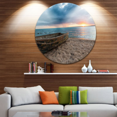 Design Art Rusty Row Boat on Sand at Sunset ExtraLarge Seascape Metal Wall Decor