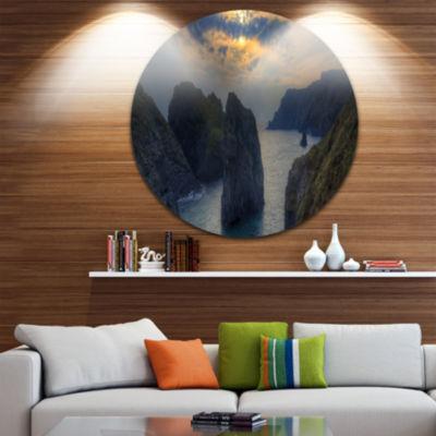 Design Art Dark Rocky Panorama Coastline Extra Large Seashore Metal Circle Wall Art