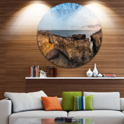 Design Art Rough Rocky Coast under Blue Sky Oversized Beach Metal Circle Wall Art