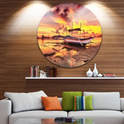 Design Art Beautiful Boat under Yellow Sky Seashore Metal Circle Wall Art