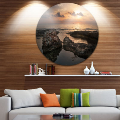 Design Art Dark Africa Beach with Ancient Ruins Oversized Beach Metal Circle Wall Art