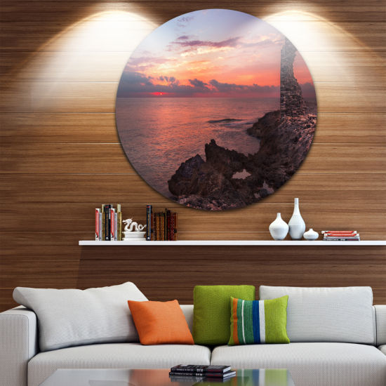Design Art Red Rocky Beach with Ancient Ruins Oversized Beach Metal Circle Wall Art