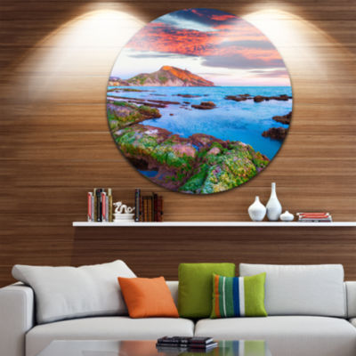 Design Art Colorful Giollonardo Beach Sunset Seashore Metal Circle Wall Art