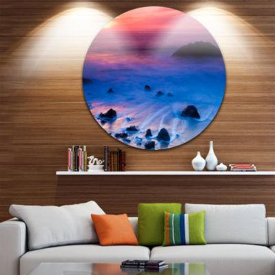 Design Art Bright Colorful Rocky Coast Panorama Extra Large Seashore Metal Circle Wall Art