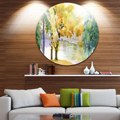 Design Art Beautiful Autumn Forest Watercolor Landscape Metal Circle Wall Art