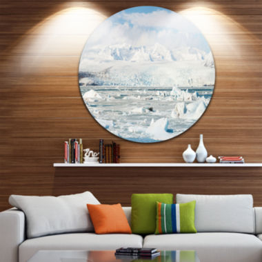 Design Art Vatnajokull Glacier in Iceland Landscape Metal Circle Wall Art