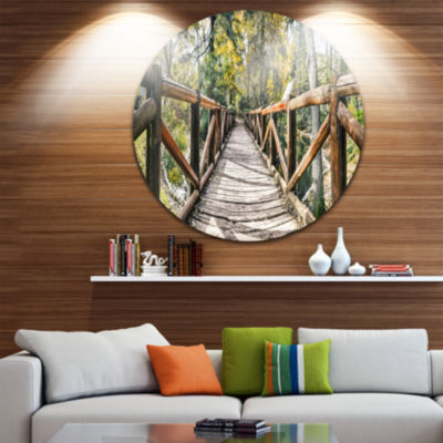 Design Art Wooden Bridge in Forest Wooden Sea Bridge Metal Circle Wall Art