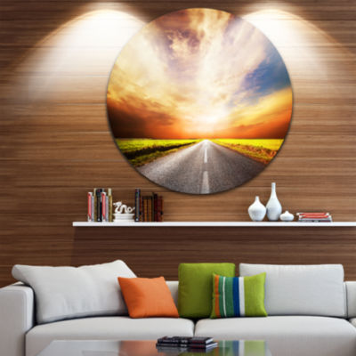 Design Art Road to Yellow Sunset Sky Extra Large Wall Art Landscape