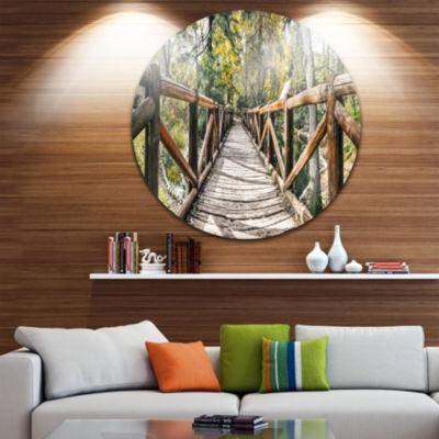 Design Art Wooden Bridge in Forest Wooden Sea Bridge Metal Circle Wall Art