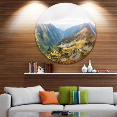 Design Art Mountains from Ostry Peak Tatras Landscape Metal Circle Wall Art