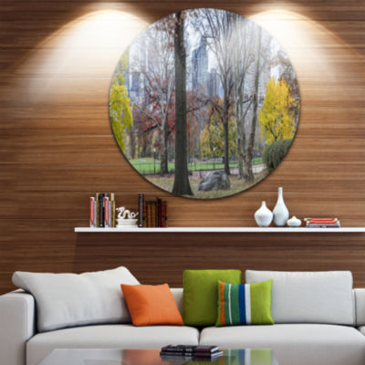Design Art Central Park New York City in Autumn Landscape Metal Circle Wall Art