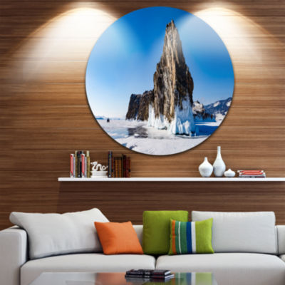 Design Art Winter Lake Baikal Panorama Extra LargeSeashore Metal Circle Wall Art
