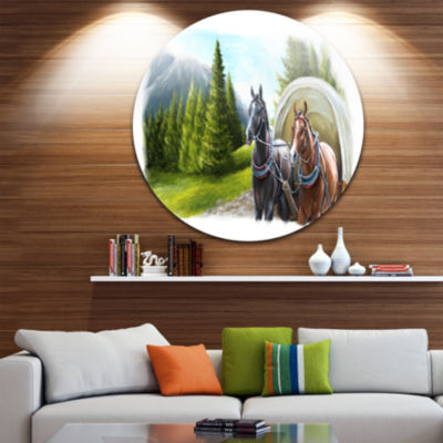 Design Art Road in Mountains with Horses LandscapeMetal Circle Wall Art