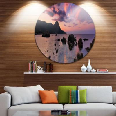 Design Art Rocky Colorful Beach Panorama SeashoreMetal Circle Wall Art