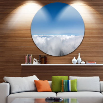 Design Art Aerial View of Sky over Clouds Contemporary Landscape Metal Circle Wall Art