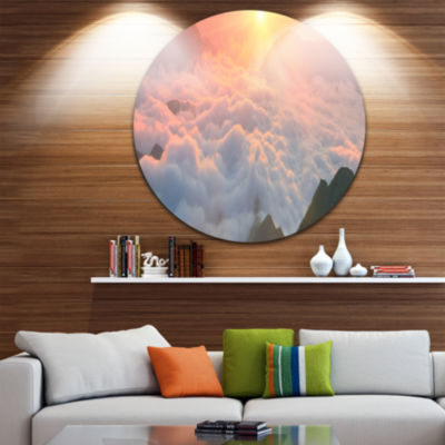 Design Art Heavy Fog in Mountains Panorama Contemporary Landscape Metal Circle Wall Art