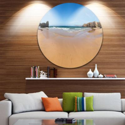 Design Art Calm Sandy Coastline Panorama OversizedBeach Metal Circle Wall Art