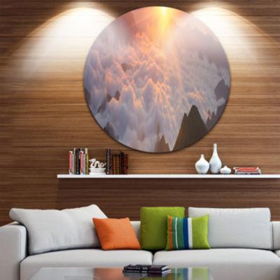 Design Art Sunlight over Heavy Fog Panorama Contemporary Landscape Metal Circle Wall Art