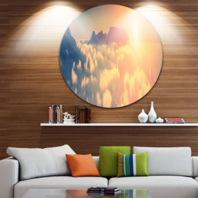 Design Art Sky above Floating Clouds ContemporaryLandscape Metal Circle Wall Art