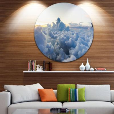 Design Art Light Blue Heavy Clouds in Sky Contemporary Landscape Metal Circle Wall Art