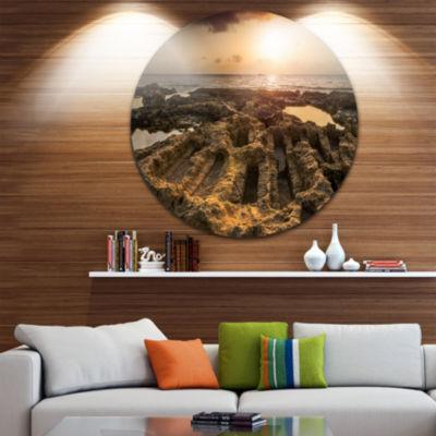 Design Art Glowing Sunlight on Ancient Ruins Landscape Metal Circle Wall Art