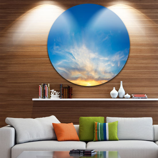 Design Art Bright Blue Evening Sky Panorama Contemporary Landscape Metal Circle Wall Art