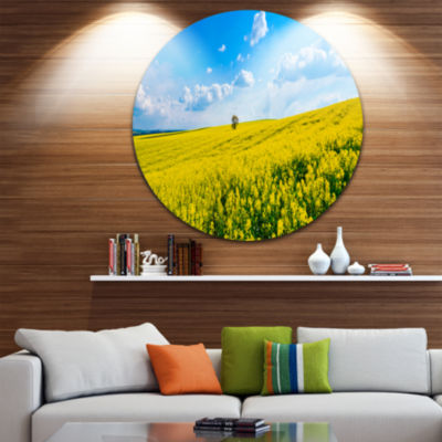 Design Art Lone Tree in Blooming Cozla Park Contemporary Landscape Metal Circle Wall Art