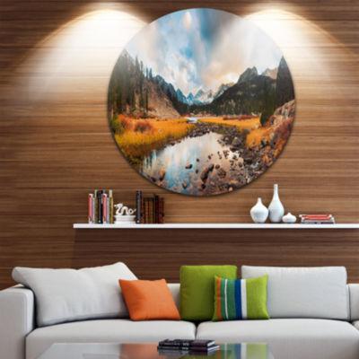 Design Art Rocky Lake Sunset Panorama Seashore Metal Circle Wall Art