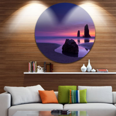 Design Art Purple Haystack Rock Extra Large Seascape Metal Wall Decor