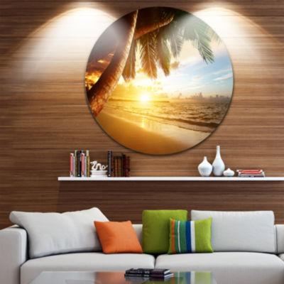 Design Art Beautiful Beach under Palms Seashore Metal Circle Wall Art