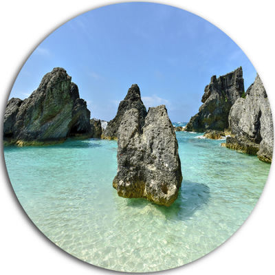 Design Art Horseshoe Bay Cove Bermuda Oversized Beach Metal Circle Wall Art